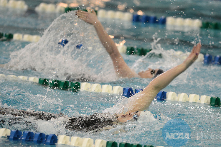 Caroline Arakelian, of Queens University (NC), leads the Women's 200 Yard Backstroke at the NCAA Division II National Championships Festival in Birmingham, AL, Saturday, March 9, 2013. (Peter Lockley/NCAA Photos).