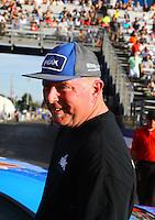 Feb 14, 2016; Pomona, CA, USA; NHRA stock eliminator driver Dan Fletcher after winning the Winternationals at Auto Club Raceway at Pomona. Mandatory Credit: Mark J. Rebilas-USA TODAY Sports