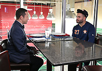 WASHINGTON DC - OCTOBER 26: Ken Rosenthal interviews Astros second baseman Jose Altuve before World Series Game 4: Houston Astros at Washington Nationals on Fox Sports at Nationals Park on October 26, 2019 in Washington, DC. (Photo by Frank Micelotta/Fox Sports/PictureGroup)