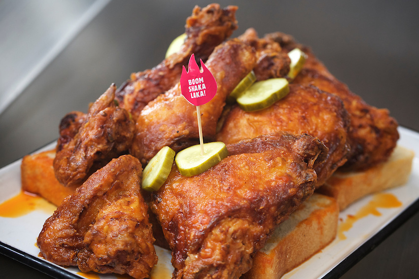 Brooklyn, NY - June 8, 2016: The recently opened Carla Hall's Southern Kitchen specializes in Nashville-style, spicy fried chicken.<br /> CREDIT: Clay Williams for Gothamist<br /> <br /> &copy; Clay Williams / claywilliamsphoto.com