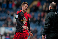 BLACKBURN, ENGLAND - JANUARY 24:  Gylfi Sigurosson of Swansea City leaves the field after being sent off  during the FA Cup Fourth Round match between Blackburn Rovers and Swansea City at Ewood park on January 24, 2015 in Blackburn, England.  (Photo by Athena Pictures/Getty Images)