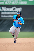 Akron RubberDucks Nellie Rodriguez (12) running the bases during an Eastern League game against the Bowie Baysox on May 30, 2019 at Prince George's Stadium in Bowie, Maryland.  Akron defeated Bowie 9-5.  (Mike Janes/Four Seam Images)