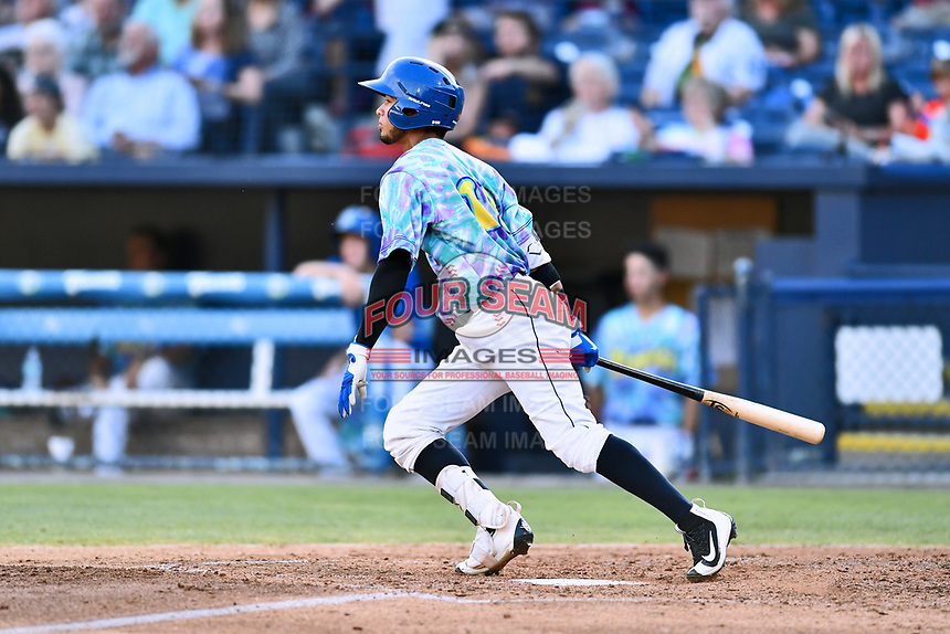 Asheville Hippies center fielder Manny Melendez (19) swings at a pitch during a game against the Greenville Drive at McCormick Field on June 29, 2017 in Asheville, North Carolina. The Drive defeated the Tourists 9-6. (Tony Farlow/Four Seam Images)