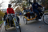 NEW YORK - NOV 11: Rickshaw drivers pedal passengers around Central Park on November 11, 2006, in New York City. (Photo by Landon Nordeman)
