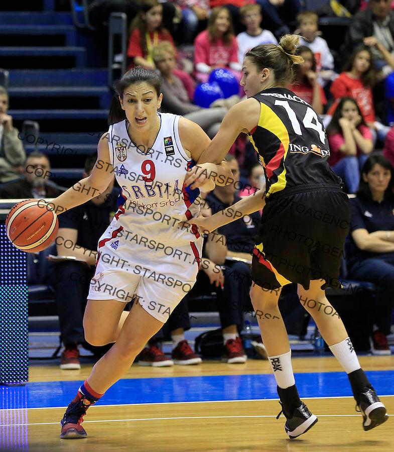 Kosarka- EuroBasket qualifiers 2017<br /> Srbija v Nemacka<br /> Jelena Milovanovic (L)<br /> Beograd, 21.11.2015.<br /> foto: Srdjan Stevanovic/Starsportphoto&copy;