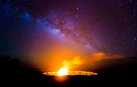 Halema'uma'u Under the Milky Way: The Milky Way rises above Halema'uma'u Crater as lava spatters over the lava lake's rim, a rare event at Hawai'i Volcanoes National Park, Big Island.
