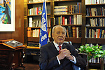 Israel's President Shimon Peres at his offices in the President's Residence in Jerusalem, Israel.<br /> <br /> February 24, 2010<br /> Photo by Ahikam Seri