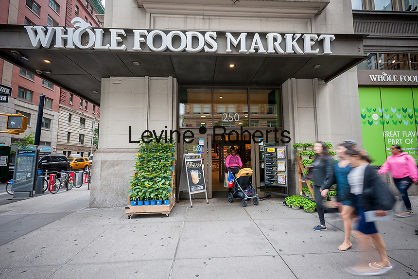 The Whole Foods Market in the Chelsea neighborhood of New York n Friday, June 16, 2017. Amazon is buying Whole Foods Market in a deal worth $13.7 billion. (© Richard B. Levine)
