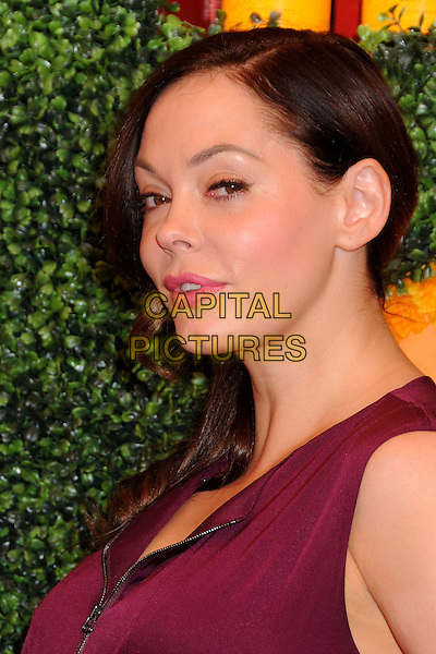 Rose McGowan.3rd Annual Veuve Clicquot Polo Classic held at Will Rogers State Historic Park, Pacific Palisades, California, USA, .6th October 2012..portrait headshot burgundy aubergine purple red maroon side profile .CAP/ADM/BP.©Byron Purvis/AdMedia/Capital Pictures.