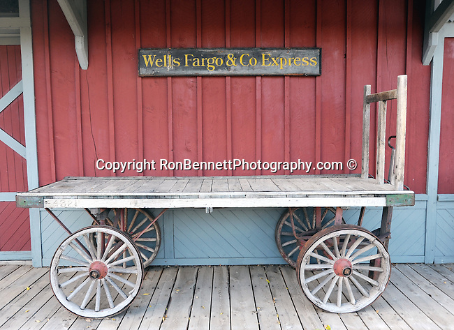 Wells Fargo Train Station,Wells Fargo & Co Express wagon, Nevada City is an old placer mining camp near Virginia City Montana, Gold was discovered in Alder Gulch 1863, Wells Fargo train station, Fine Art Photography by Ron Bennett, Fine Art, Fine Art photo, Art Photography,