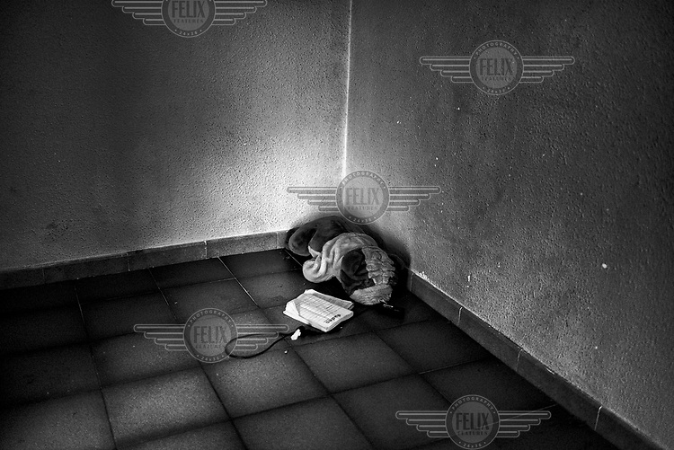 A child's toy lies in the corner of an empty room after the family that lived there were evicted. In the first six months of 2012 there were 18,424 evictions in Spain.