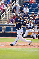 March 13, 2010 - Milwaukee Brewers' Alcides Escobar (#21) at-bat during a spring training game against the Colorado Rockies at Maryvale Baseball Park in Maryvale, Arizona.