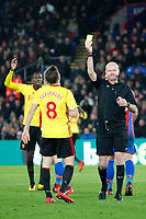 SENDING OFF - Tom Cleverley of Watford receives his second booking during the EPL - Premier League match between Crystal Palace and Watford at Selhurst Park, London, England on 12 December 2017. Photo by Carlton Myrie / PRiME Media Images.