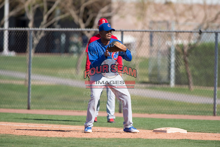 Chicago Cubs first baseman Rafael Mejia (13) during a Minor League Spring Training game against the Los Angeles Angels at Sloan Park on March 20, 2018 in Mesa, Arizona. (Zachary Lucy/Four Seam Images)