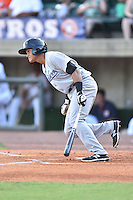 Pulaski Yankees third baseman Allen Valerio (25) swings at a pitch during a game against the Greeneville Astros on July 11, 2015 in Greeneville, Tennessee. The Yankees defeated the Astros 9-3. (Tony Farlow/Four Seam Images)