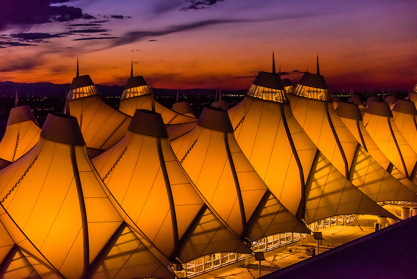 The Jepessen Terminal, Denver International Airport, Denver, Colorado USA. The tent like roof is meant to resemble snow-capped mountains.