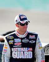 Nov. 20, 2009; Homestead, FL, USA; NASCAR Sprint Cup Series driver Dale Earnhardt Jr during qualifying for the Ford 400 at Homestead Miami Speedway. Mandatory Credit: Mark J. Rebilas-