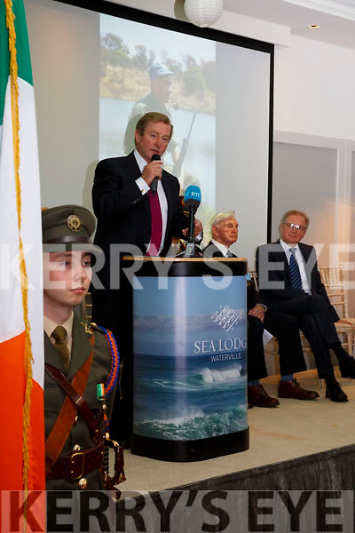 Former Taoiseach Enda Kenny speaking at the plaque unveiling ceremony to Colonel Patrick Quinlan at the Sea Lodge Waterville on Saturday.