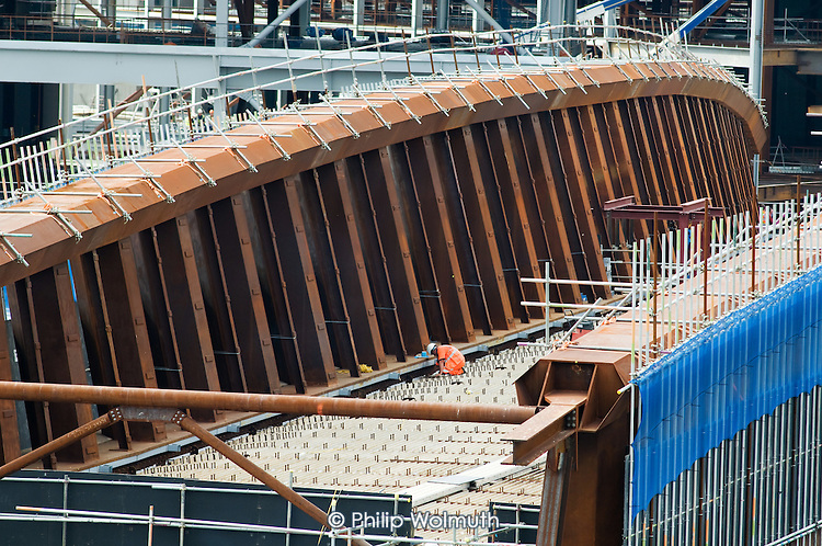 Bridge construction at Stratford railway station next to the London 2012 Olympic site in East London.