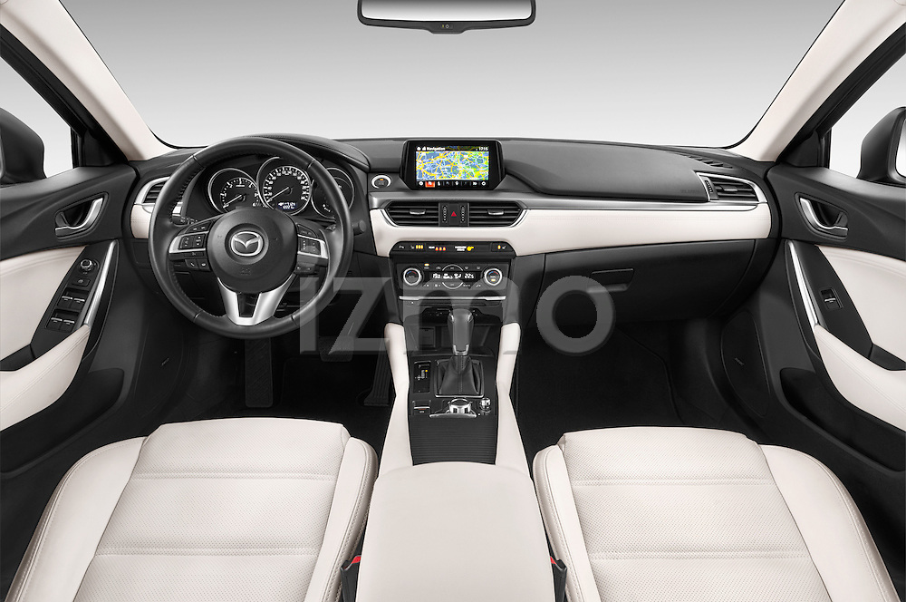 Stock photo of straight dashboard view of 2015 Mazda Mazda 6 Skycruse 5 Door Wagon Dashboard