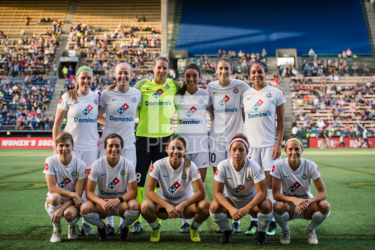 Seattle, WA - Sunday, September 24th, 2017: FC Kansas City starting eleven during a regular season National Women's Soccer League (NWSL) match between the Seattle Reign FC and FC Kansas City at Memorial Stadium.
