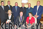 Front l-r: Jackie Barret (FG), New Lord Mayor Listowel Tom Walsh (FF) and Marie Gorman (FF). Back l-r: Jimmy Moloney (FF), Mike Kennelly (FG),Tim O'Leary (FG), Tom Barry (SF), Anthony Curtin (SF) and Denis Stack (FG)..