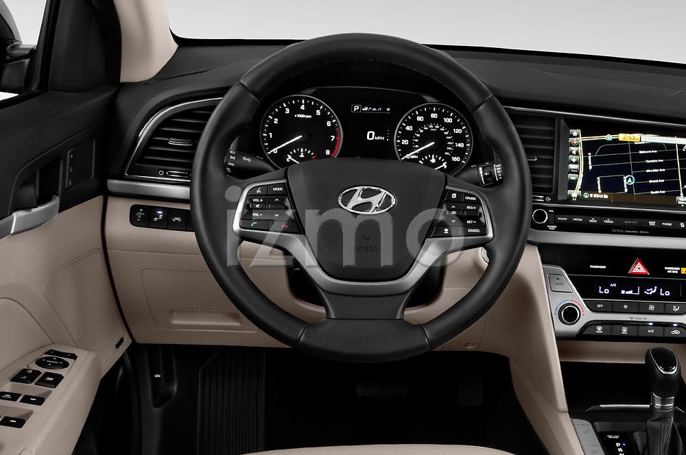 Car pictures of steering wheel view of a 2018 Hyundai Elantra Limited 4 Door Sedan