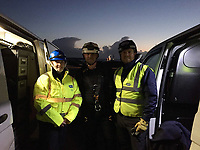 Pictured L-R: RSPCA officers that handled the operation - animal collection officer Ellie West, animal welfare officer Andrew Harris, Insp Nic De Celis in Aberavon beach, Port Talbot, Wales, UK. Tuesday 07 November 2017<br /> Re: A baby seal was rescued from under a one ton rock after being frightened by fireworks.<br /> The pup - nicknamed Miracle - wriggled into a gap between rocks and was unable to get out.<br /> Surfers heard the pup crying and a huge rescue operation was launched at Aberavon Beach, Port Talbot, South Wales.<br /> An RNLI lifeboat crew tried to pull the seal to safety but it was stuck and out of reach.