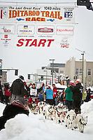 Karen Ramstead leaves the 2011 Iditarod ceremonial start line in downtown Anchorage, during the 2012 Iditarod..Jim R. Kohl/Iditarodphotos.com
