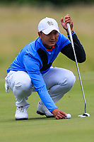 Sadom Kaewkanjana of Team Thailand on the 7th green during Round 3 of the WATC 2018 - Eisenhower Trophy at Carton House, Maynooth, Co. Kildare on Friday 7th September 2018.<br /> Picture:  Thos Caffrey / www.golffile.ie<br /> <br /> All photo usage must carry mandatory copyright credit (&copy; Golffile | Thos Caffrey)