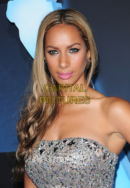 LEONA LEWIS.The Twentieth Century Fox World Premiere of Avatar held at The Grauman's Chinese Theatre in Hollywood, California, USA. .December 16th, 2009.headshot portrait silver strapless beige beaded sparkly jewel encrusted embellished eyeliner pink lipstick .CAP/RKE/DVS.©DVS/RockinExposures/Capital Pictures.