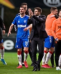 26.02.2020 SC Braga v Rangers: Steven Gerrard with his players at full time