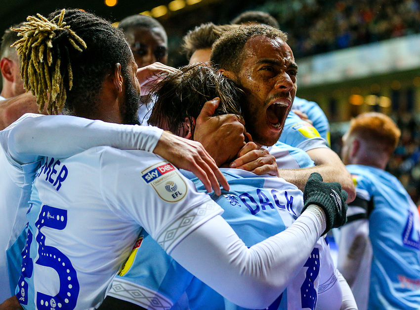 Blackburn Rovers' Bradley Dack celebrates scoring the opening goal with teammates<br /> <br /> Photographer Alex Dodd/CameraSport<br /> <br /> The EFL Sky Bet Championship - Blackburn Rovers v Queens Park Rangers - Saturday 3rd November 2018 - Ewood Park - Blackburn<br /> <br /> World Copyright © 2018 CameraSport. All rights reserved. 43 Linden Ave. Countesthorpe. Leicester. England. LE8 5PG - Tel: +44 (0) 116 277 4147 - admin@camerasport.com - www.camerasport.com