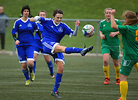 Action from the Women's Capital Division One football match between Victoria University and Wellington Olympic at Wakefield Park in Wellington, New Zealand on Sunday, 28 May 2017. Photo: Dave Lintott / lintottphoto.co.nz