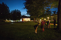 Kids play Soccer in the evening in Bestor Plaza, the center of the Chautauqua Institution. People gather for a variety of activities in the public square and green space. June 26, 2014. Chautauqua, NY. Photo by Brendan Bannon.
