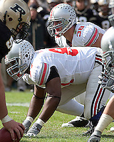 Ohio State defensive lineman Lawrence Willson (87) and linebacker Austin Spitler (38). The Purdue Boilermakers defeated the Ohio State Buckeyes 26-18 at Ross-Ade Stadium, West Lafayette, Indiana on October 17, 2009..