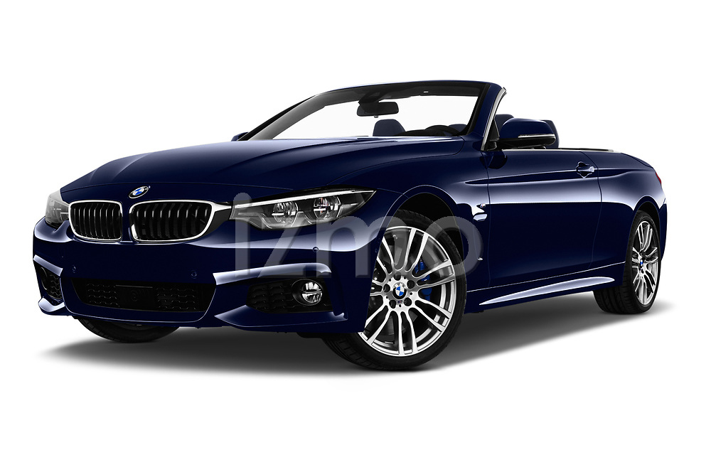 Stock pictures of low aggressive front three quarter view of a 2018 BMW 4 Series M Sport 2 Door Convertible