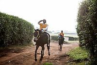 Jockey Paul Kiarie left the gallops after a morning canter at Ngong Racecourse in Nairobi, Kenya. Nairobi, Kenya. March 16, 2013 Photo: Brendan Bannon