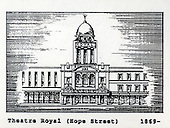 The Theatre Royal (Hope St), Glasgow, a copy of one of the images gifted by actor Tony Roper to the Britannia Panoptican in Glasgow, after he presented the long-lost variety music hall with some ink drawings of old Glasgow theatres. The framed collection was given to Roper by the family of Ricki Fulton - picture by Donald MacLeod 05.03.09