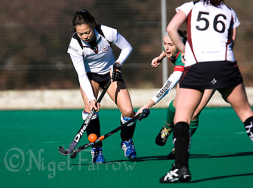 21 FEB 2009 - LOUGHBOROUGH,GBR - Christie Fearnside - Loughborough University 2nd's (white and black) v Harborne (green and black). (PHOTO (C) NIGEL FARROW)