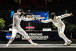 23 MAR 2012:  Katarzyna Dabrowa, left, of Ohio State fences against Margherita Guzzi Vincenti of Penn State in the epee competition of the Division I Women's Fencing Championship held at St. John Arena on the Ohio State University campus in Columbus, OH. Dabrowa defeated Guzzi Vincenti 15-14 to claim the national title.  Jay LaPrete/ NCAA Photos