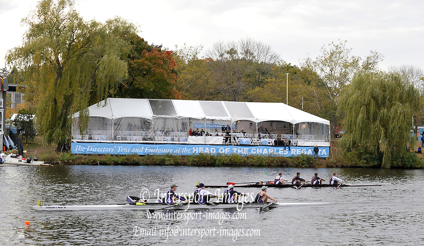 Cambridge, USA,   competing crews pass the Cambridge BC, in the Collegiate four men, during the  [HOCR]  Head on the Charles River, Cambridge/Boston, Massachusetts  Saturday  17/10/2009 [Mandatory Credit Karon PHILLIPS/Intersport Images]