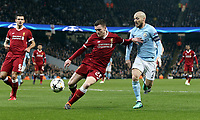 Liverpool's Andrew Robertson under pressure from Manchester City's David Silva<br /> <br /> Photographer Rich Linley/CameraSport<br /> <br /> UEFA Champions League Quarter-Final Second Leg - Manchester City v Liverpool - Tuesday 10th April 2018 - The Etihad - Manchester<br />  <br /> World Copyright &copy; 2017 CameraSport. All rights reserved. 43 Linden Ave. Countesthorpe. Leicester. England. LE8 5PG - Tel: +44 (0) 116 277 4147 - admin@camerasport.com - www.camerasport.com