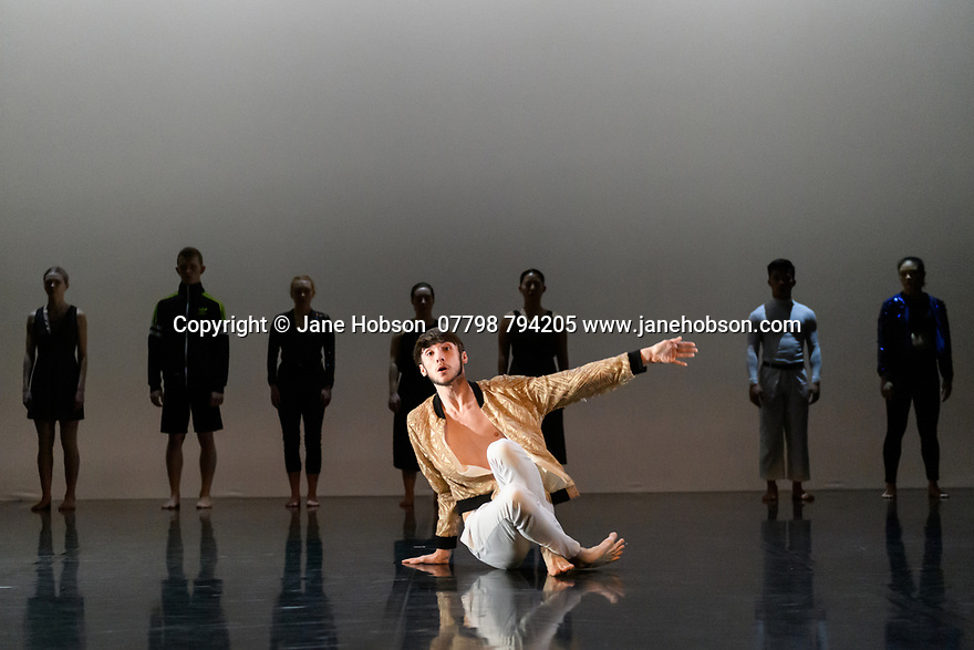 "Leeds, UK. 03.12.2019. Second Year students of BA (Hons) Dance (Contemporary), at the Northern School of Contemporary Dance, present work as part of NEW GROUND, in the Riley Theatre. This piece is: ""Puzzle Work"" by choreographer Anton Lachky. Lighting design is by Mark Baker, with costume design by Melissa Burton. The dancers are: Var Bech Arting, Pattarapong Chomchan, Kieron Faller, Luke Hodkinson, Angharad Jones-Young, Sarah McCann, Denise Dannii Tan, Marina Tubau Burcion, Holly Yu. Photograph © Jane Hobson."
