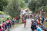 Jarlinson Pantano (Col) Trek-Segafredo attacks on the brutal climb of Los Machucos during Stage 17 of the 2017 La Vuelta, running 180.5km from Villadiego to Los Machucos. Monumento Vaca Pasiega, Spain. 6th September 2017.<br /> Picture: Unipublic/&copy;photogomezsport   Cyclefile<br /> <br /> <br /> All photos usage must carry mandatory copyright credit (&copy; Cyclefile   Unipublic/&copy;photogomezsport)