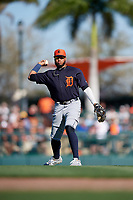 Detroit Tigers second baseman Dawel Lugo (18) throws to first base during a Grapefruit League Spring Training game against the Baltimore Orioles on March 3, 2019 at Ed Smith Stadium in Sarasota, Florida.  Baltimore defeated Detroit 7-5.  (Mike Janes/Four Seam Images)