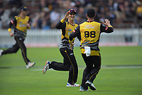 Peter Younghusband celebrates a catch during the Dream11 Super Smash cricket final between the Wellington Firebirds and Auckland Aces at Basin Reserve in Wellington, New Zealand on Sunday, 19 January 2020. Photo: Dave Lintott / lintottphoto.co.nz