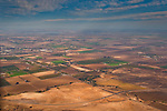 Aerial over the rural agricultural farmlands Central Valley near Tracy, California