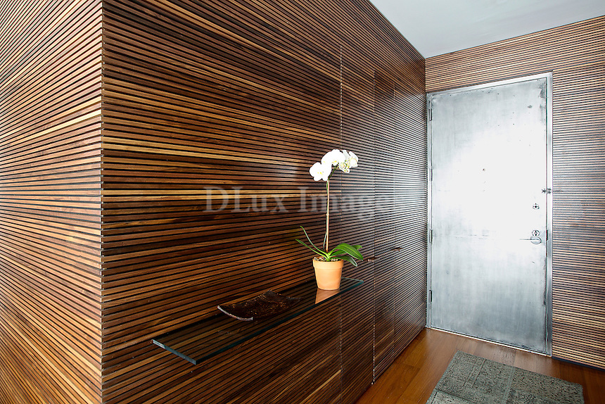 Wood paneling walls<br /> <br /> A modern apartment decorated by Brazilian designer Christiana Mascarenhas in the exclusive I.M.Pei Centurion Building on West 56th Street in New York City.