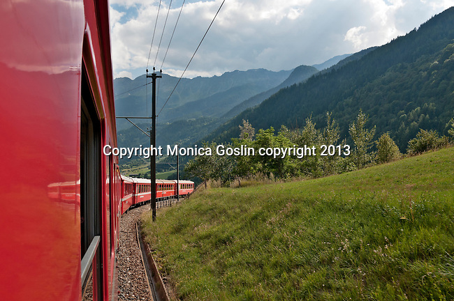 The Bernina Express climbs up from the Valposchiavo valley towards St Mortiz; it is the highest altitute transalpine railway and one of the steepest railways